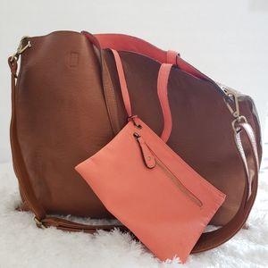 Vegan Reversible tan brown and coral tote bag